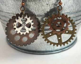 Steampunk Earrings, Gear Earrings, Gear Jewelry, Steampunk, Geek Trends, Trending Items, Under 10, Geek Jewelry, Cosplay, Fashion Trends