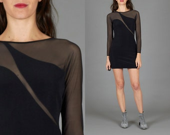 Vintage 80s XS / Small Black Bodycon Mini Dress with Abstract Mesh Bodice