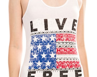 Women's Regular Live Free American Flag Graphic Print Scoop Neck Tank Top - Small ~ Large (pt-022-tp)