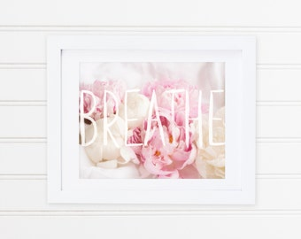 Peonies and Watercolour - Breathe - Peony Print