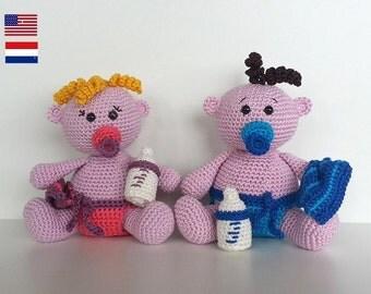 Cute Baby boy and girl, amigurumi doll crochet pattern, PDF ENG