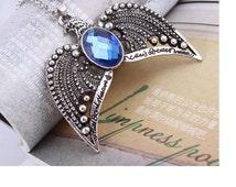 Harry potter ravenclaw necklace horcrux vintage antique silver eagle crown diadem pendant jewelry for women