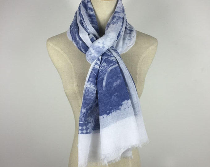 Christmas Gifts Ethnic Scarf Blue Ethnic Scarf Blue Scarf White And Blue Scarf Woman Accessories Gift For Her White Scarf Boho Blue Scarf
