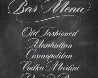Printable Wedding Bar Sign, Custom Cocktail Chalkboard Sign Wedding Bar Menu