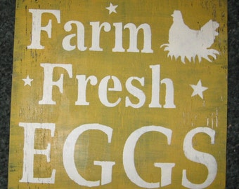 Fresh Farm Eggs.....wall hanging/rustic/primitive/home decor/handmade/gardening/vegtables