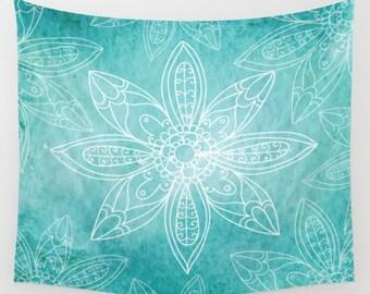 Teal Flowers Wall Tapestry Yoga Meditation Mandala Wall Hanging