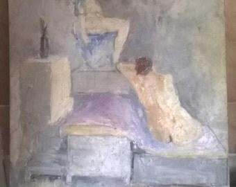 old erotic oil painting TOILET fetish erotica