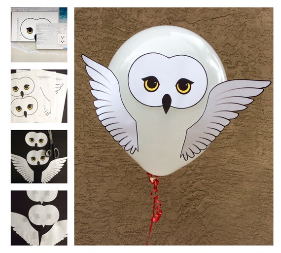 Diy harry potter style owl baby shower or party balloon for Baby shower decoration templates