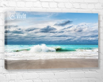 Ocean Photography, Turks and Caicos, beach wall art canvas, white sand, turquoise water, caribbean surf photo, teal, aqua, beach wall decor