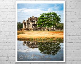 Angkor temple reflection, angkor wat photography, angkor canvas, angkor wall decor, angkor wat picture, framed art print matted angkor print