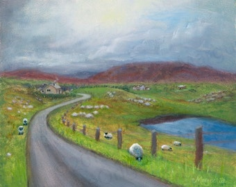 SCOTLAND PAINTING- Isle of Harris, Print of Original Oil Painting, Wall Hanging, Morning, Home Decor, Fine Art, Celtic Art, Outer Hebrides