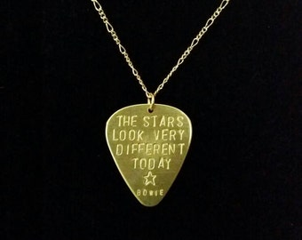 Bowie brass guitar pick necklace