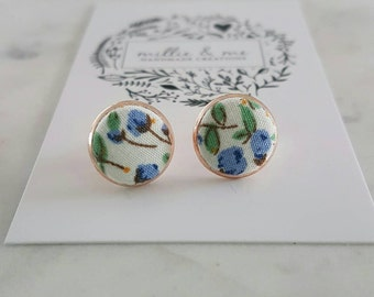 Rose gold and floral fabric stud earrings