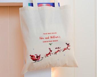 Christmas Book Bag   Book Bag   Grocery Bag   Kids' Bag   Personalised Book Bag   Watercolour Illustration   Custom Cotton Bag   XOXO