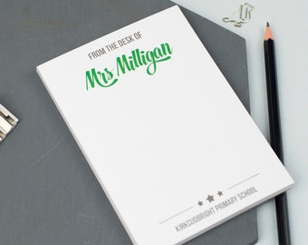 The Desk Of…' A6 Teacher's Notepad - Classic Design - Personalised Notepad - Personalised Stationery - Note Card