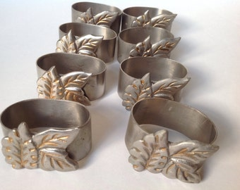 Vintage Pewter Gilded Leaf Napkin Rings/Antique Napkin Holders/ Vintage Table Setting Decor/ 8 Pewter Napkin Rings