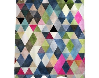 "Shower Curtain/ Multicolored Geometric Watercolor Triangles / Bath Curtain/Geometric Standard Length (71""x74"")"
