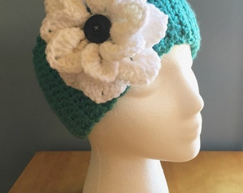 Crochet ear warmer, crochet headband, kids earwarmer, adult earwarmer, flower earwarmer