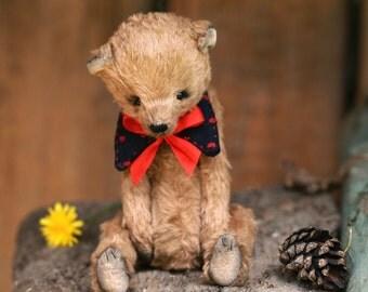 Teddy bear ooak artist teddy bear in red collar