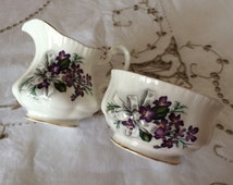 Paragon Violets Milk Jug/Creamer and Sugar Bowl Set - Pretty Violets and White Bows - Fine Bone China - Made in England