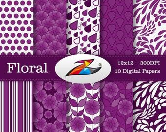 Sale Purple flower digital paper Floral background scrapbook paper Floral pattern invitation Floral digital paper Commercial Use
