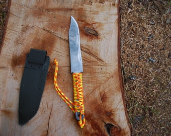 Hand forged knife, paracord wrapped knife, Hunting knife, camping tools, survival knife, Hiking knife, outdoor life