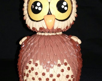 Owl Bottle and Top Polymer Clay Custom Color