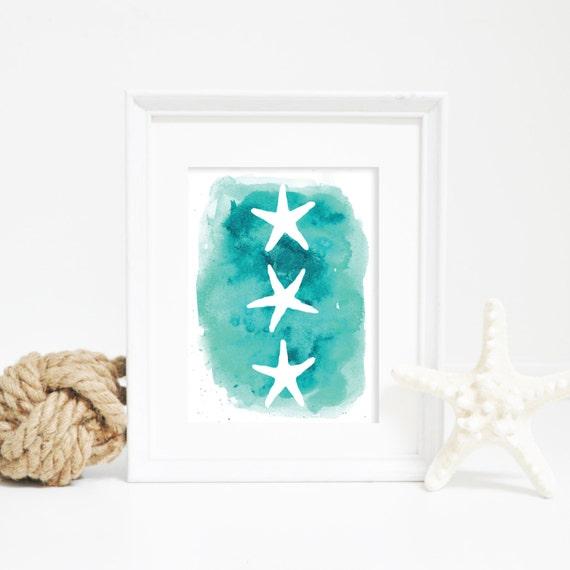 Starfish Print, Printable Art, Ocean Art, Beach Print, Blue Print, Beach Decor, Starfish Art, Nursery Artwork, Tropic Art, Printable Poster