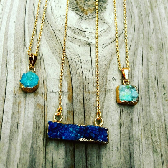 The Drussy Necklace // Natural Drussy  Stone on a Gold Plated Chain // Boho Hippie Layering Necklace//chose one
