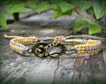 Beach Sandal Bracelet - Adjustable Flip Flop Hemp Bracelet - Beachy Bronze Shoe Gift - Made to Order - You Choose Color!