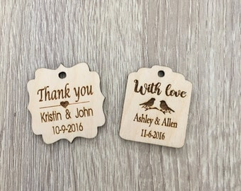 25 Custom wooden tags, wooden hearts, wood tags, laser cut tags, gift tags, custom tags, personalized favor tags, wedding favor tags