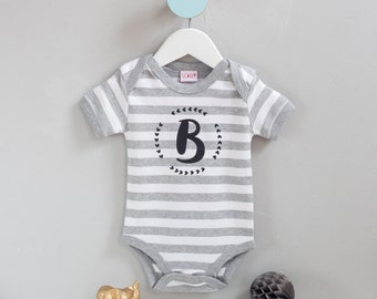 New Baby Gift - Personalised Initial Stripy Baby Onesie with wreath design - New Born Present, Bespoke Baby Gift - Babygrow