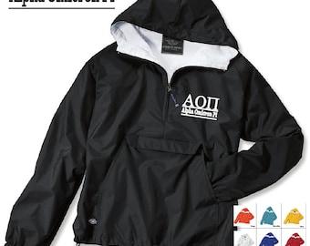 Alpha Omicron Pi // A O Pi // Sorority Charles River Rain Jacket // Choose your color