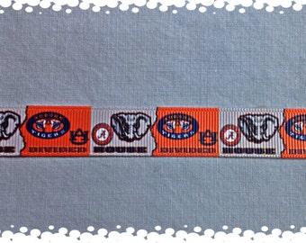 3/4 Wide Custom Made Adjustable Alabama & Auburn Divided House Grosgrain Dog Collar