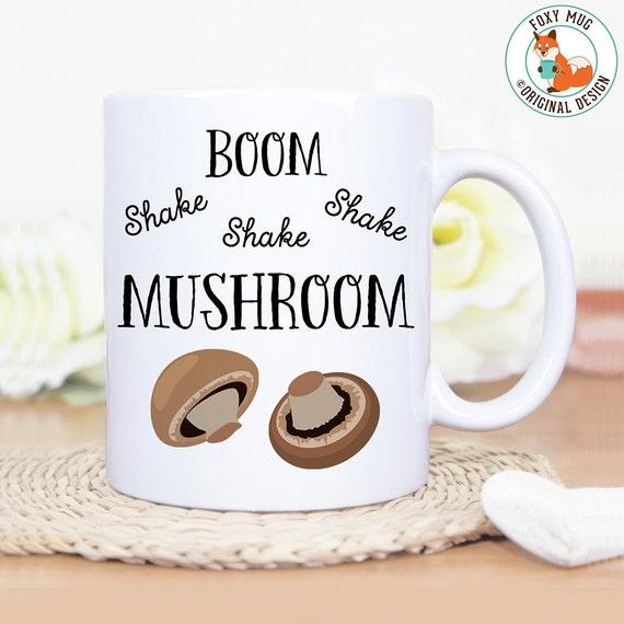 Coffee Mug Boom Shake Shake Shake Mushroom Funny Pun Coffee Mug - Great Gift for Vegan or Vegetarian - Funny Mug