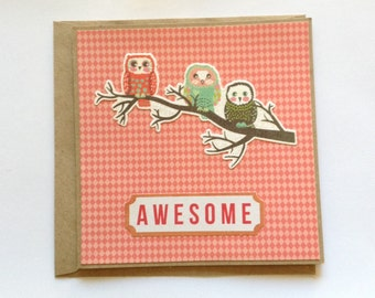 Owl card, birthday card, owl greeting card, Kraft card, awesome cards, any occasion card, blank