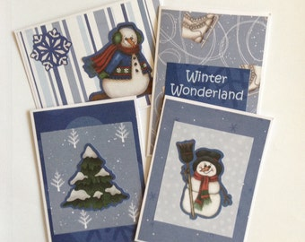 Winter card set, christmas cards, snowman cards, holiday cards Christmas tree, set of 4, blank inside