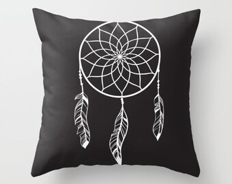Throw Pillow - Decorative Pillow - Black and white dream catcher Pillow - Decorative cushion  - Modern Pillow -