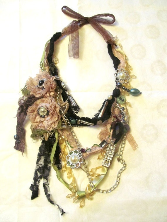 Rosy necklace with lace, green beads, pearls, crystals , antique, vintage textiles. Bohemian necklace. Ready to ship