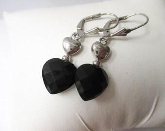 STERLING Silver Faceted Black Onyx Dangle Earrings
