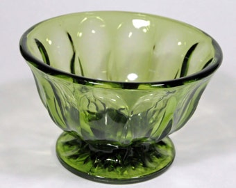 Anchor Hocking avocado green candy dish, Fairfield pattern, pedestal base, footed compote dish, footed bowl, retro decorating, vintage decor
