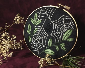 Webs and Leaves / Spider and Her Web Gold Embroidery Hoop