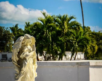 Key West Cemetery Angel Photography, Blue Sky and Palm Trees, Fine Art Print, FREE SHIPPING