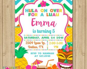 Luau Birthday Invitation, Luau Party Invitation, Luau Invitation, Hawaiian Birthday Invitation, Hawaiian Invitation