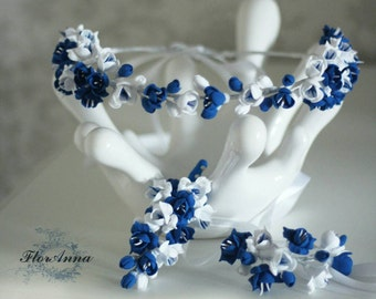 bride set, freesia bracelet, freesia brooch, freesia boutonniere, blue bride wreath, blue bride bracelet, blue and white, blue groomsman