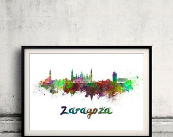Zaragoza skyline in watercolor over white background with name of city - Poster Wall art Illustration Print - SKU 1527