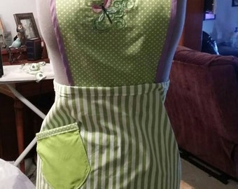 Embroidered Drangonfly Apron with Pocket