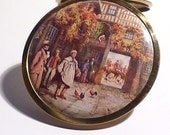 GIFTS FOR HER  girlfriends  wives  mothers sisters Christmas Scene horse  hounds English hunting picture compact
