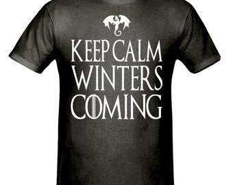 Keep calm winters coming t shirt,men,s t shirt sizes small- 2xl, gift,game of thrones t shirt