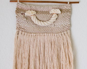 Rope Smiley - Small Woven Wall Hanging with thick cotton rope detail on a copper pipe